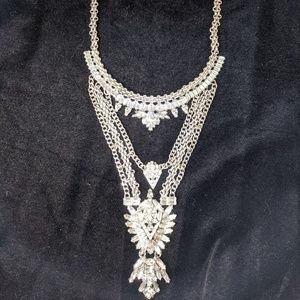 Beautiful Crystal and Silver Statement Necklace